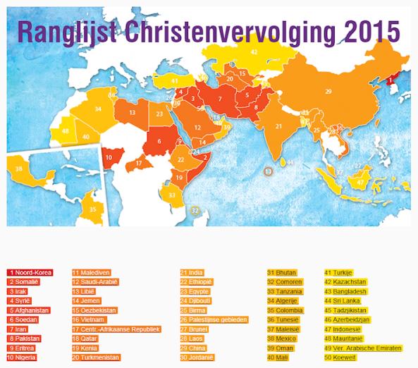 Ranglijst Christenvervolging 2015