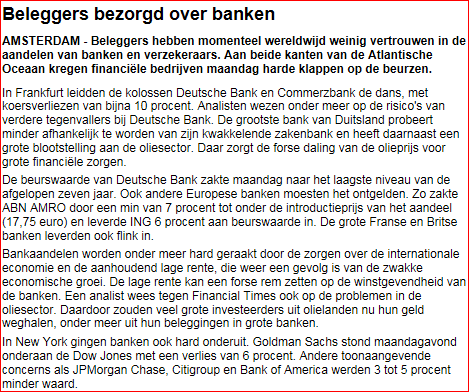 Beleggers bezorgd over banken